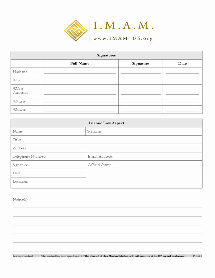 Islamic Marriage Certificate Template Unique islamic Marriage Contract Free Download