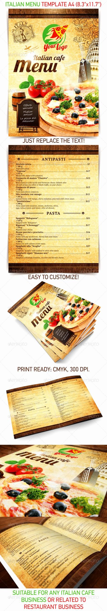 Italian Restaurant Menu Template Beautiful Italian Menu Template Food Menus Print Templates