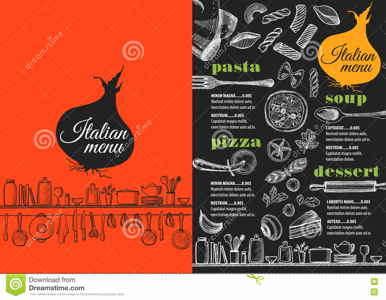 Italian Restaurant Menu Template Best Of Menu Italian Restaurant Food Template Placemat Stock