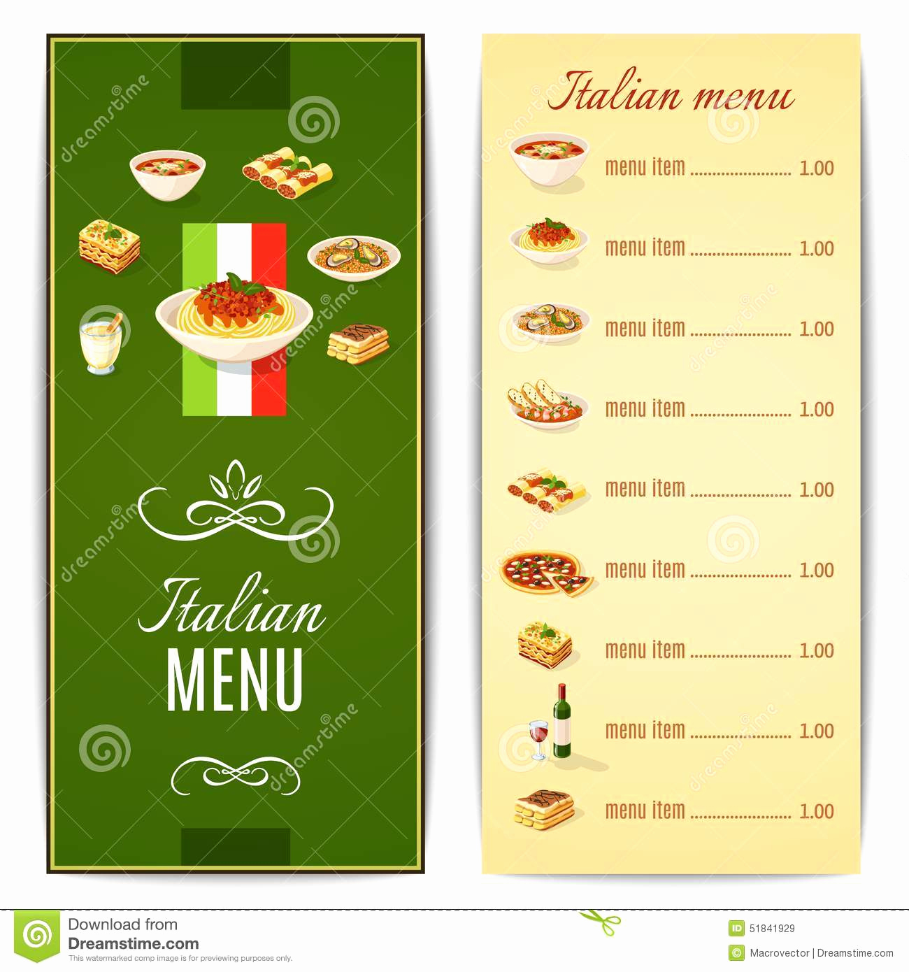 Italian Restaurant Menu Template Elegant Italian Food Menu Stock Vector Image