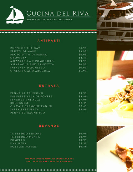 Italian Restaurant Menu Template Fresh Red Green Diamond Italian Menu Templates by Canva