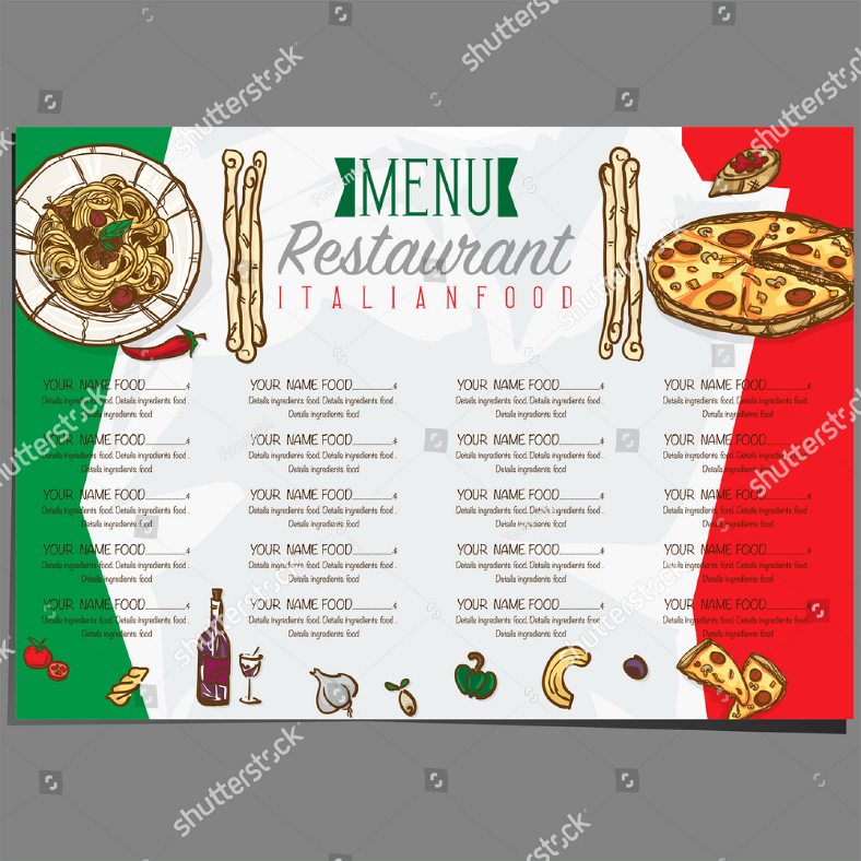 Italian Restaurant Menu Template Inspirational 25 Italian Food Menu Designs & Templates Psd Ai