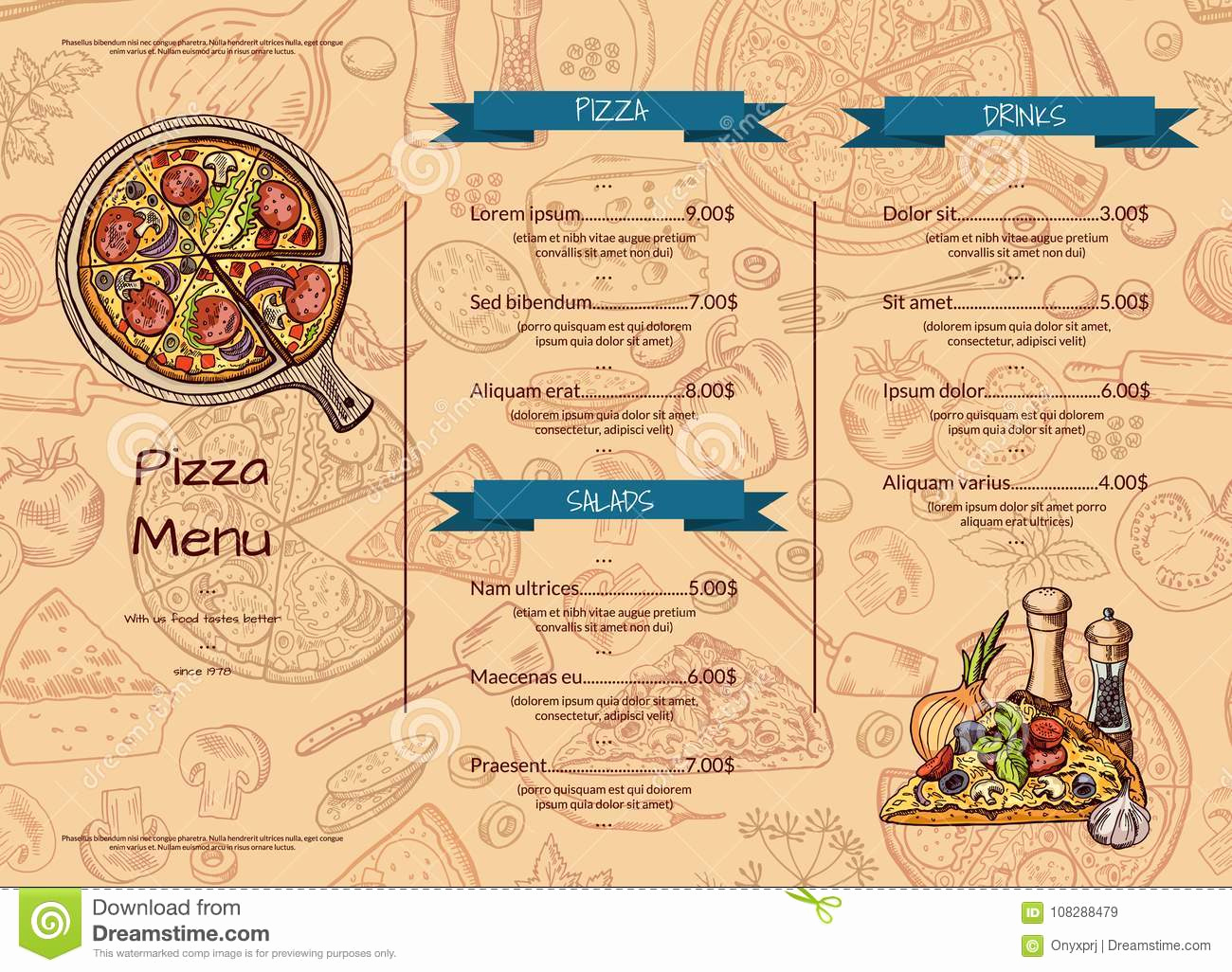 Italian Restaurant Menu Template Inspirational Vector Italian Pizza Restaurant Menu Template with Hand