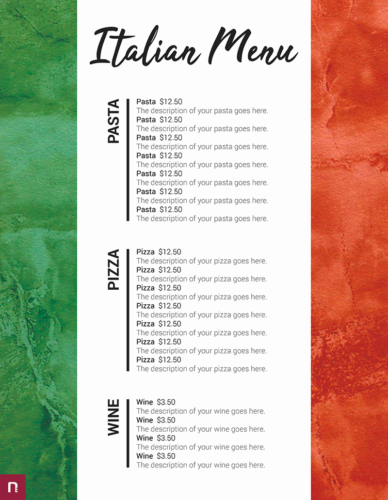 Italian Restaurant Menu Template New Free Restaurant Menu Templates