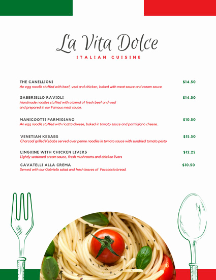 Italian Restaurant Menu Template Unique Customize 156 Italian Menu Templates Online Canva