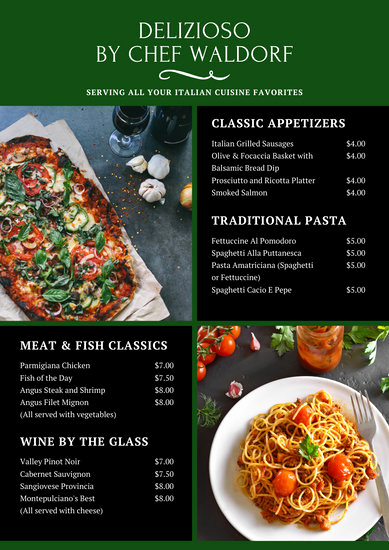 Italian Restaurant Menu Template Unique Customize 41 Italian Menu Templates Online Canva