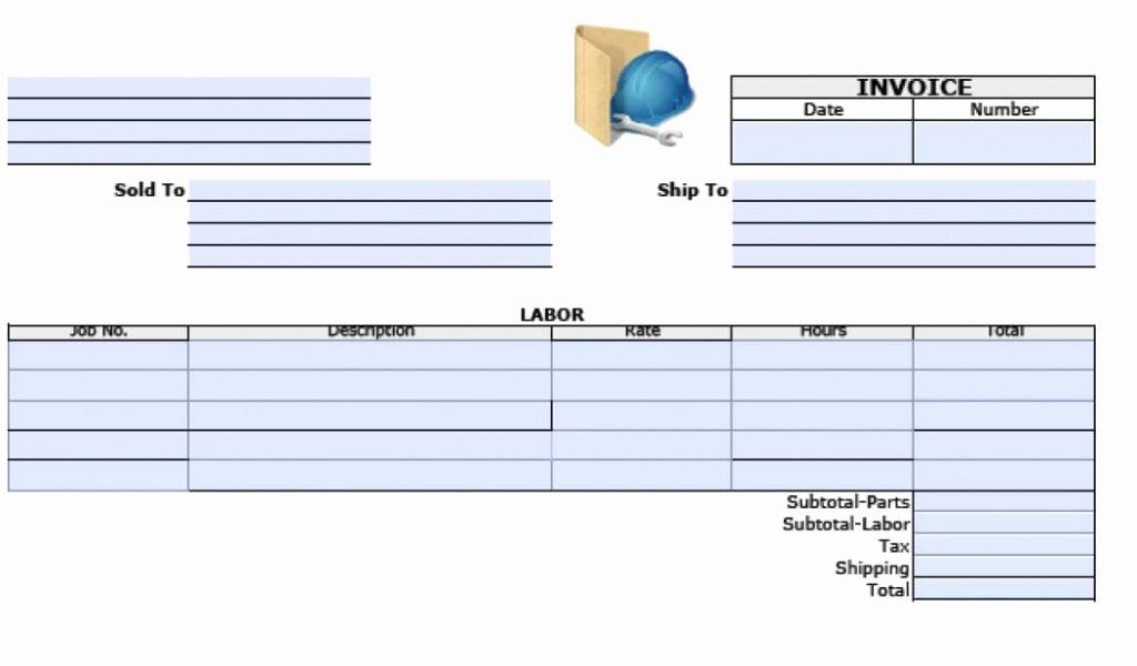 Labor Invoice Template Excel Fresh Free Labor Invoice Templates