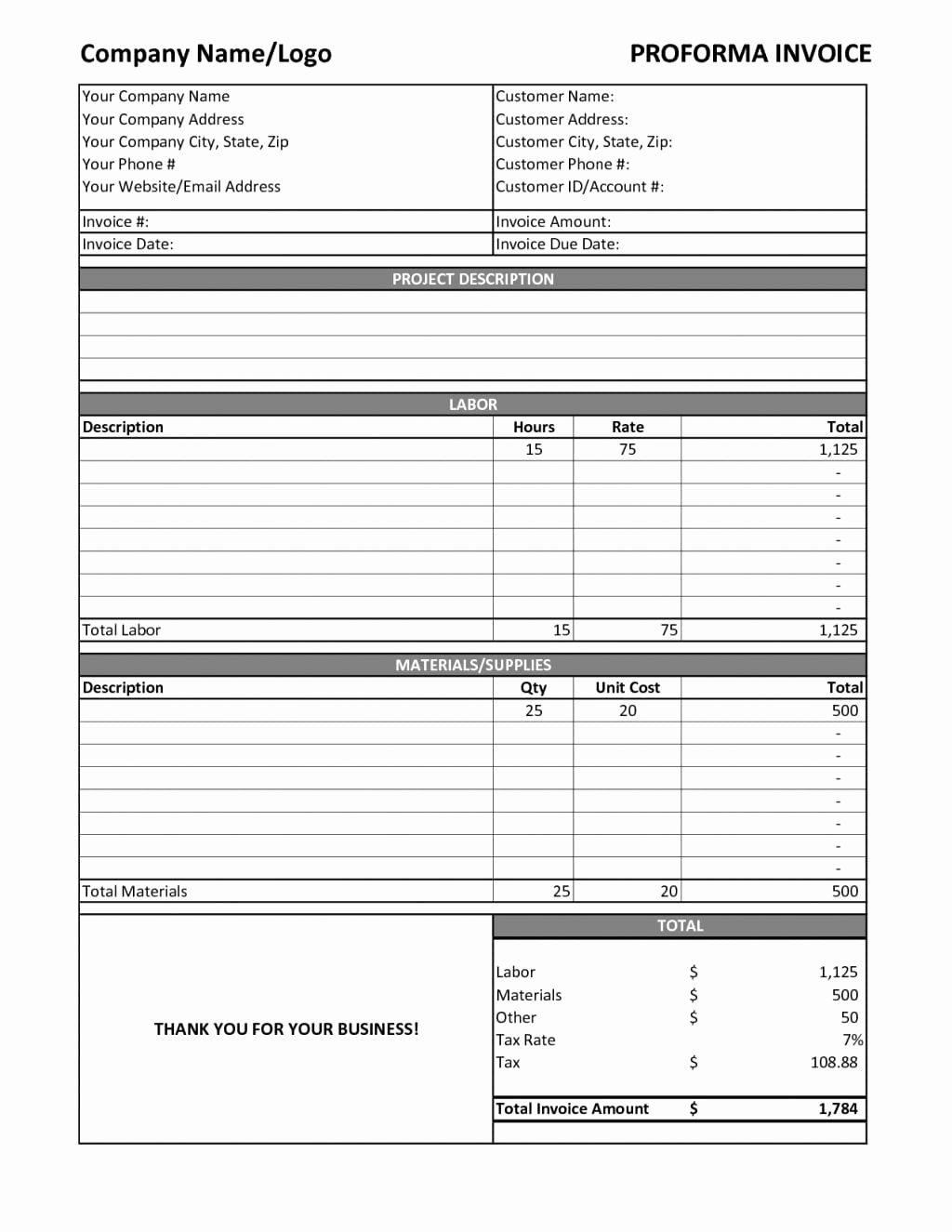 Labor Invoice Template Excel Inspirational Contract Labor Invoice Template Excelxo
