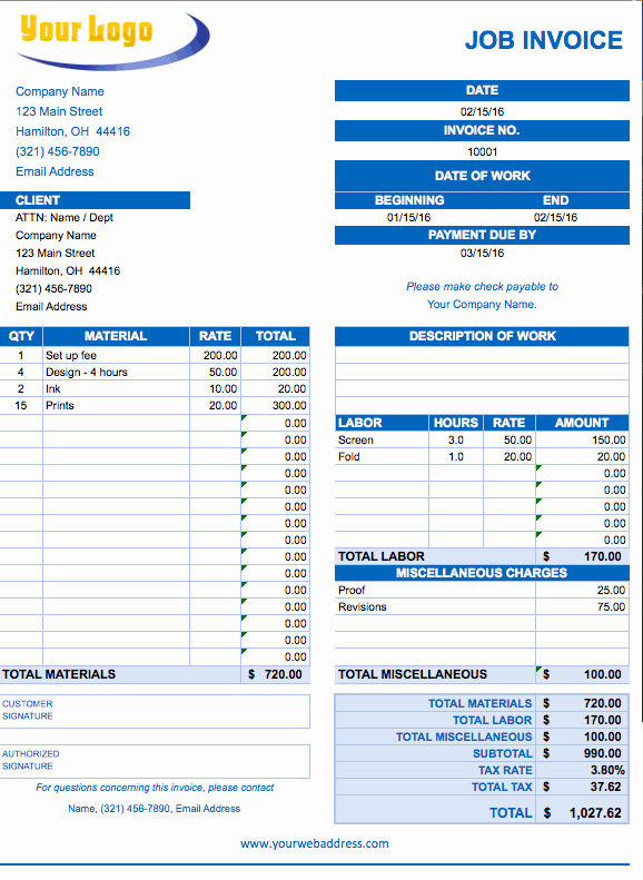 Labor Invoice Template Excel Lovely Free Excel Invoice Templates Smartsheet