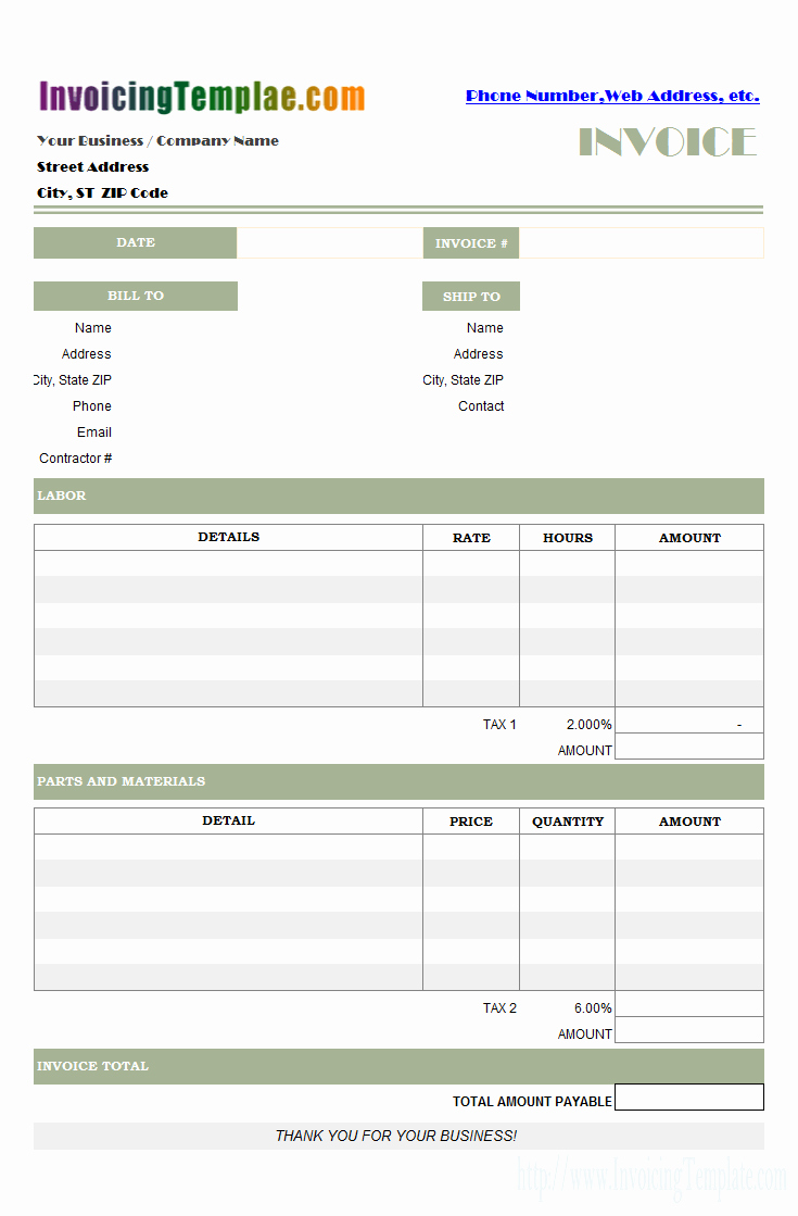 Labor Invoice Template Excel Luxury Labor Invoicing Sample