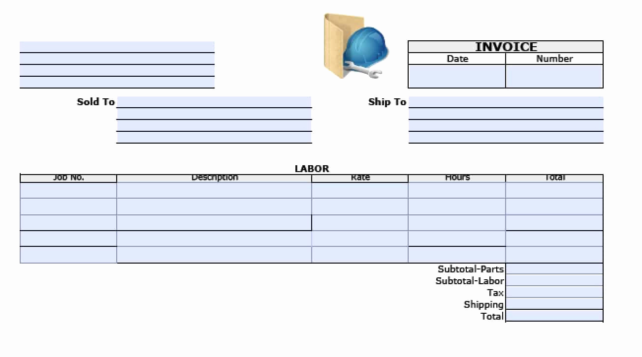 Labor Invoice Template Word Awesome Free General Labor Invoice Template Excel Pdf