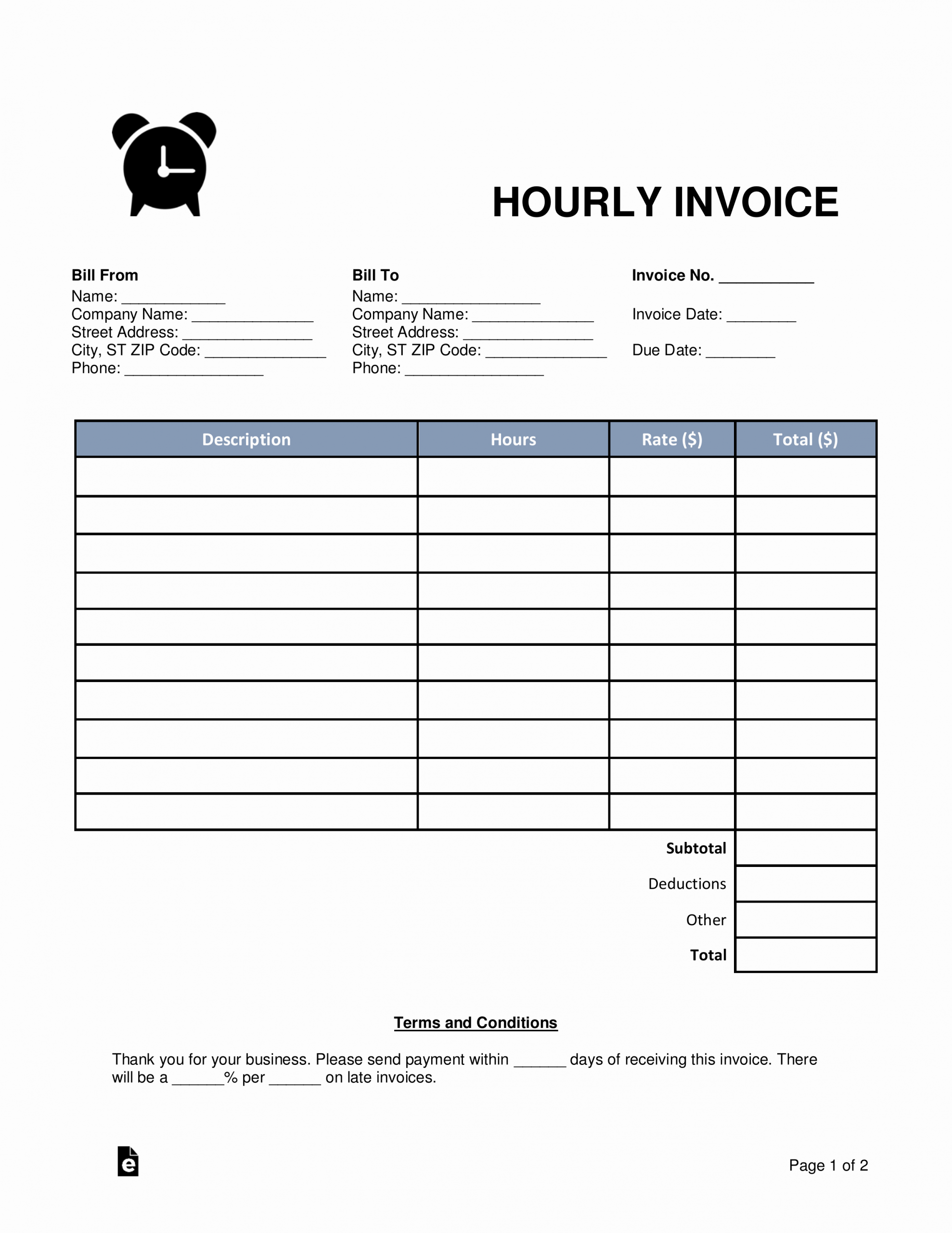 Labor Invoice Template Word Lovely Free Hourly Invoice Template Word Pdf