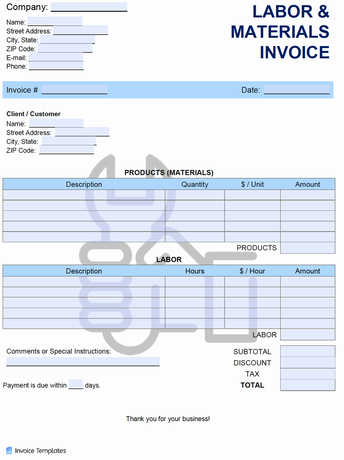 Labor Invoice Template Word Luxury Free Labor and Materials Invoice Template Pdf Word