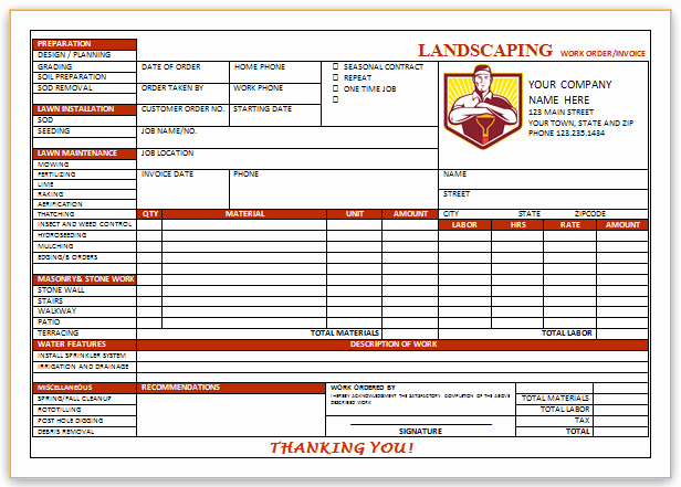 Landscaping Invoice Template Free Awesome Landscaping Invoice Template 4