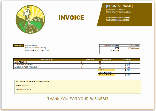 Landscaping Invoice Template Free Best Of Landscaping Invoice Template 7