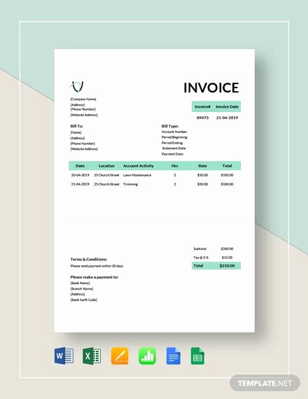 Landscaping Invoice Template Free Inspirational Sample Landscaping Invoice 6 Examples In Pdf Word Excel
