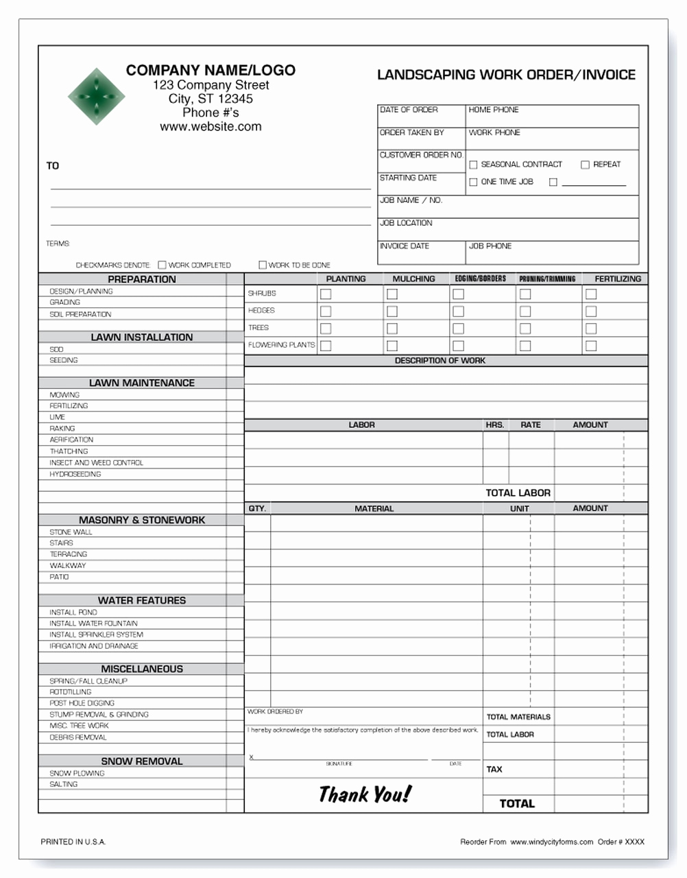 Landscaping Invoice Template Free Lovely Landscaping Work order Invoice Version 2 Windy City forms