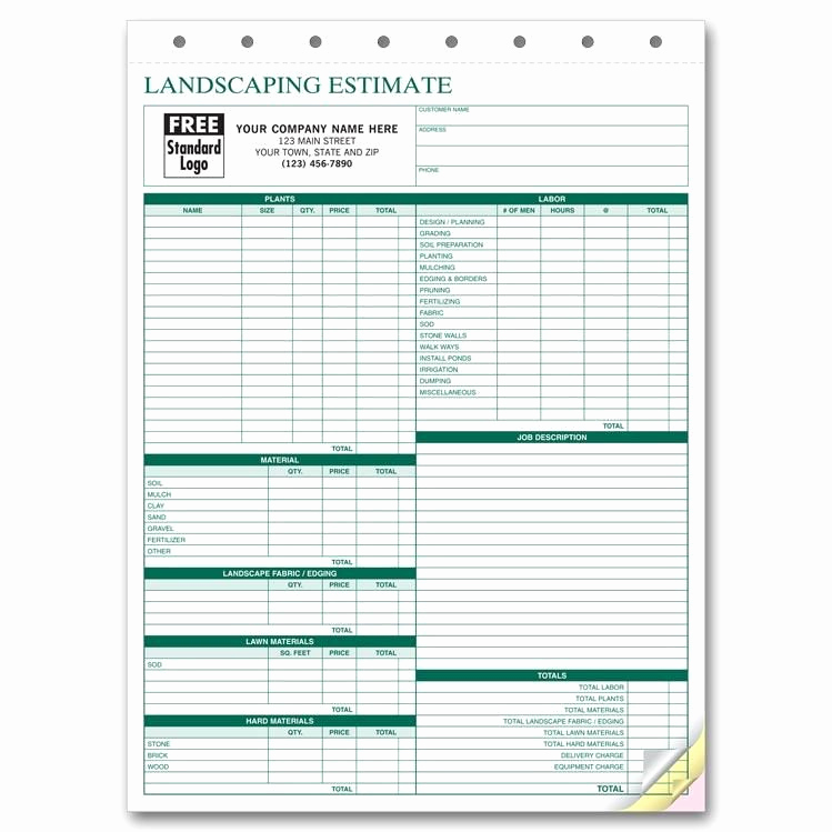 Landscaping Invoice Template Free Lovely Lawn Care Invoice form