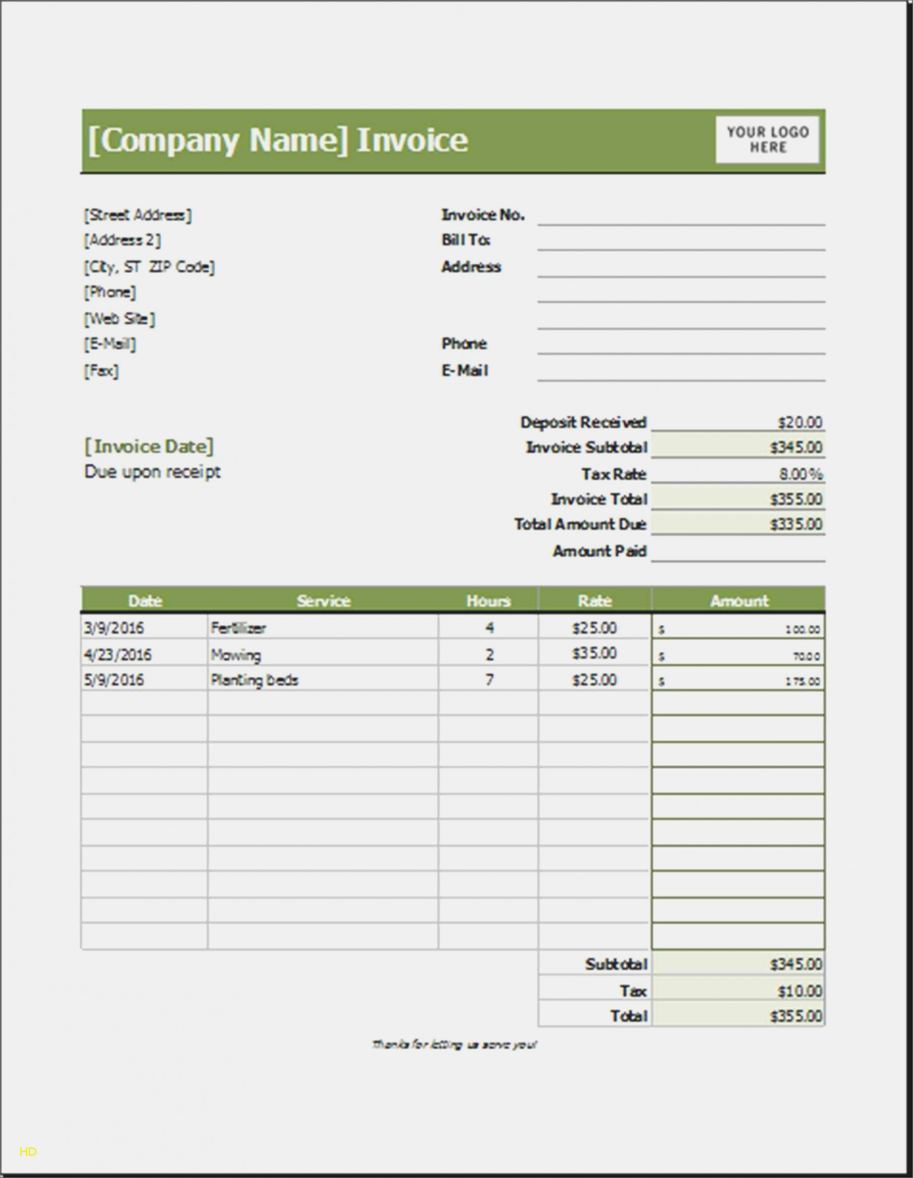 Landscaping Invoice Template Free Lovely You Will Never Believe