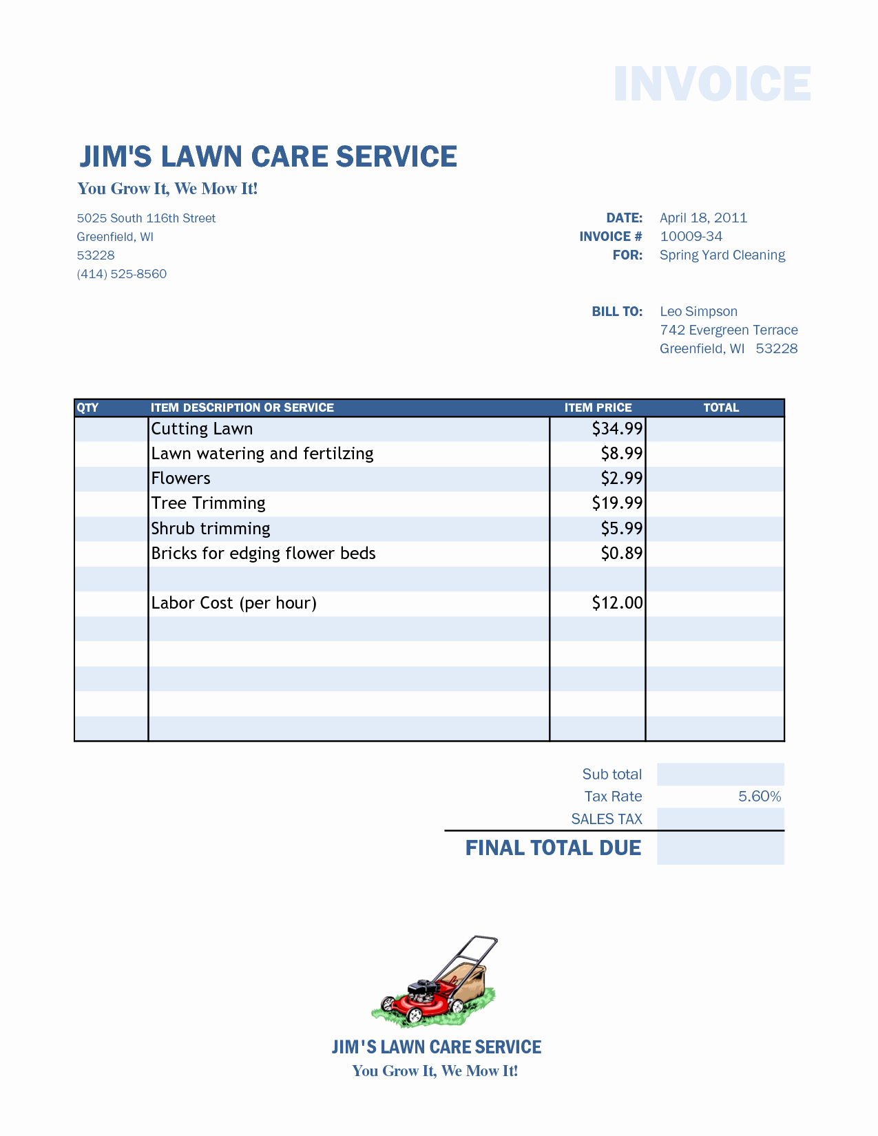 Landscaping Invoice Template Free New Lawn Care Invoice Template Word