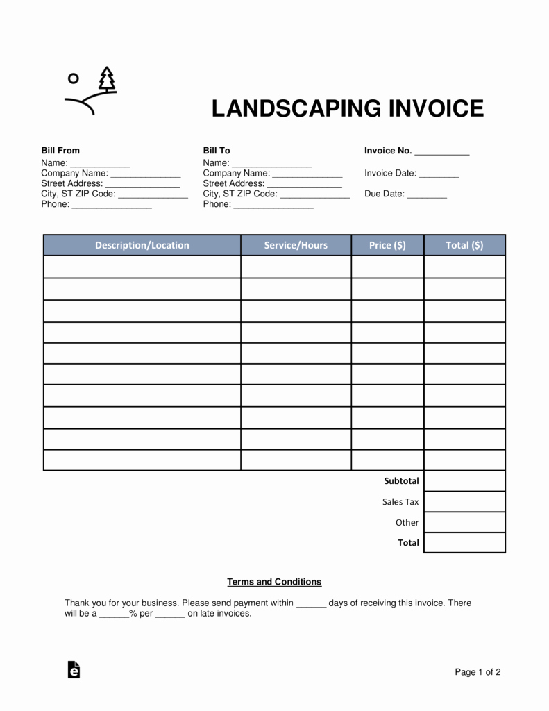 Landscaping Invoice Template Free Unique Free Landscaping Invoice Template Word Pdf