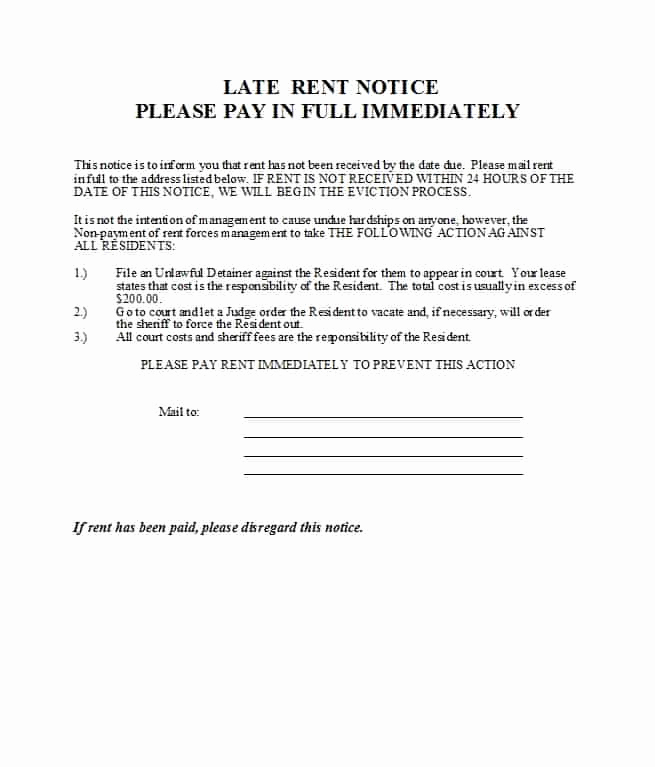 Late Rent Notice Template Beautiful 34 Printable Late Rent Notice Templates Templatelab