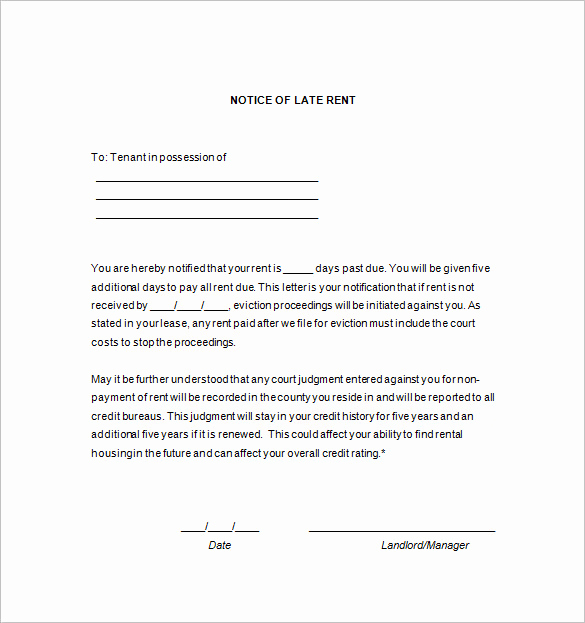 Late Rent Notice Template Luxury 11 Late Rent Notices Pdf Google Docs Ms Word Apple