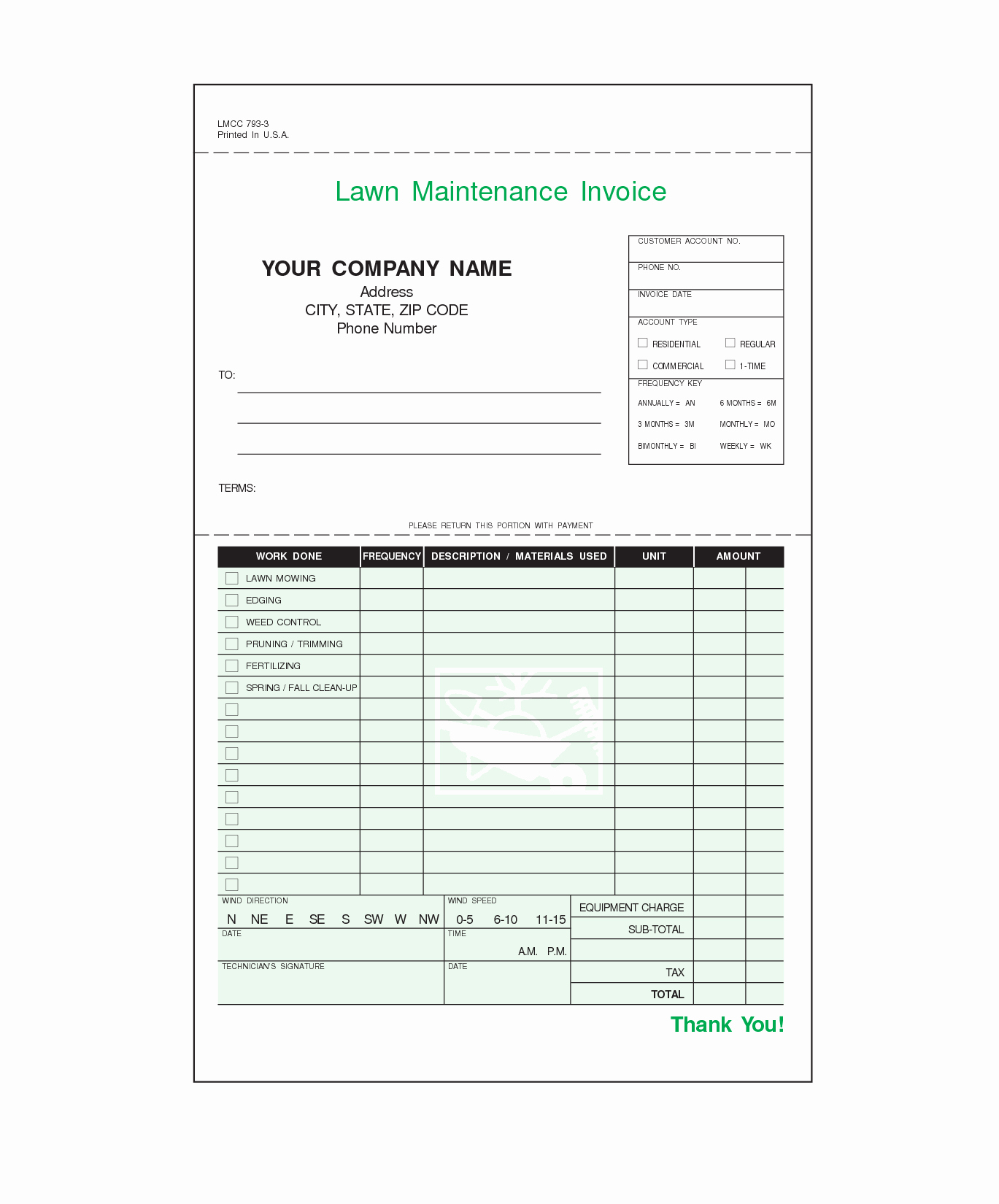 Lawn Care Invoice Template Awesome 1369×1650
