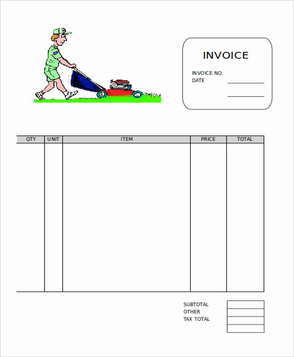 Lawn Care Invoice Template Lovely Free 9 Lawn Care Invoice Samples & Templates In Pdf