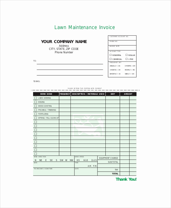 Lawn Care Invoice Template Lovely Sample Service Invoice 9 Documents In Pdf Word Docs