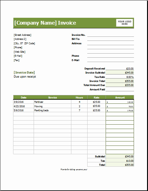 Lawn Care Invoice Template Pdf Beautiful Lawn Care Invoice Template for Excel