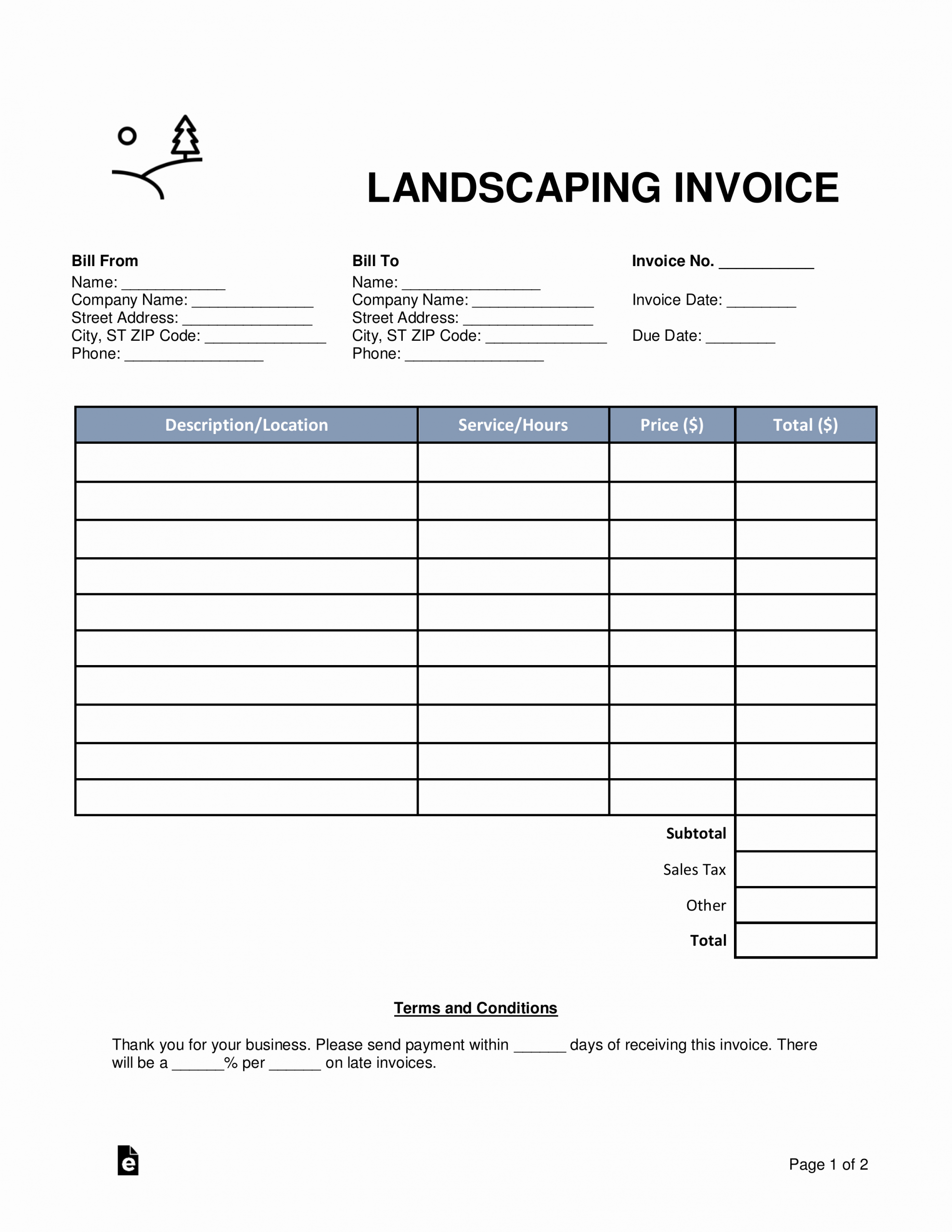 Lawn Care Invoice Template Pdf New Free Landscaping Invoice Template Word Pdf