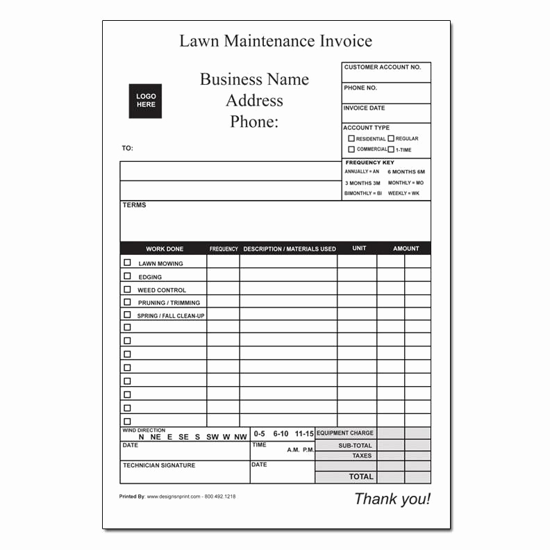 Lawn Care Invoice Template Unique Landscaping Invoice Work order Designsnprint