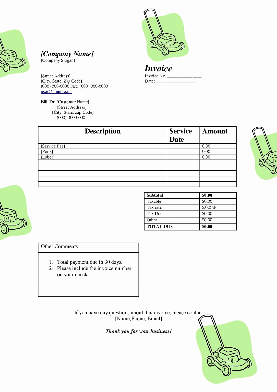 Lawn Service Invoice Template Best Of Free Printable Templates Free Lawn Service Lanscaping
