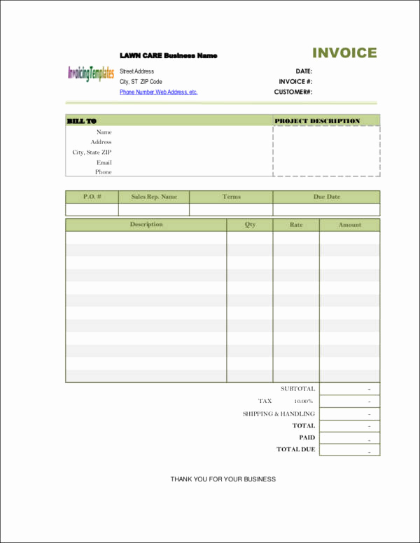 Lawn Service Invoice Template Excel Lovely Free 9 Lawn Care Invoice Samples & Templates In Pdf