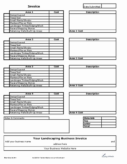 Lawn Service Invoice Template Excel New Landscaping Business Invoice Excel Spreadsheet