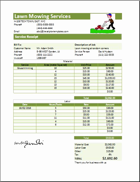 Lawn Service Invoice Template Excel New Lawn Mowing Receipt