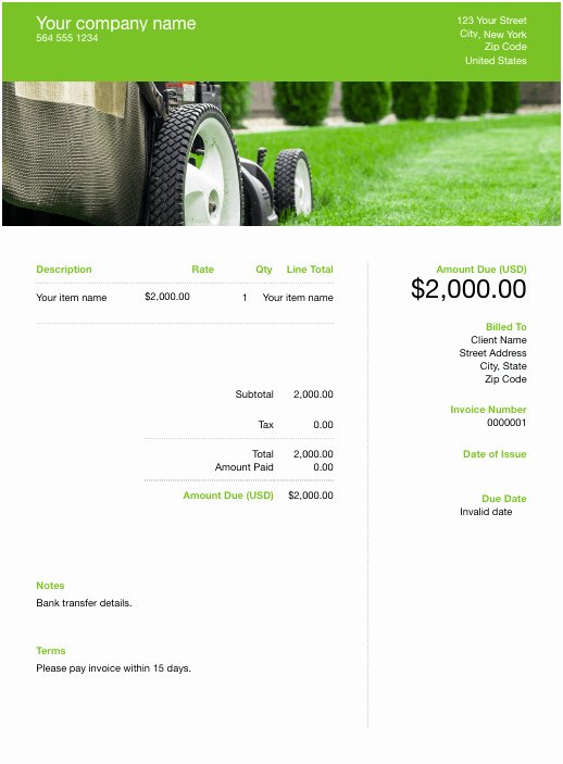 Lawn Service Invoice Template Excel Unique Free Lawn Care Invoice Template Download now