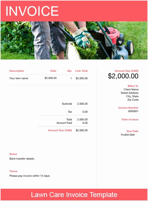 Lawn Service Invoice Template Excel Unique Lawn Care Invoice Template Free Download
