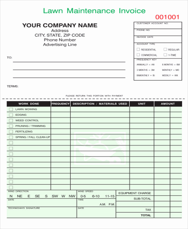 Lawn Service Invoice Template Excel Unique Maintenance Invoice Templates