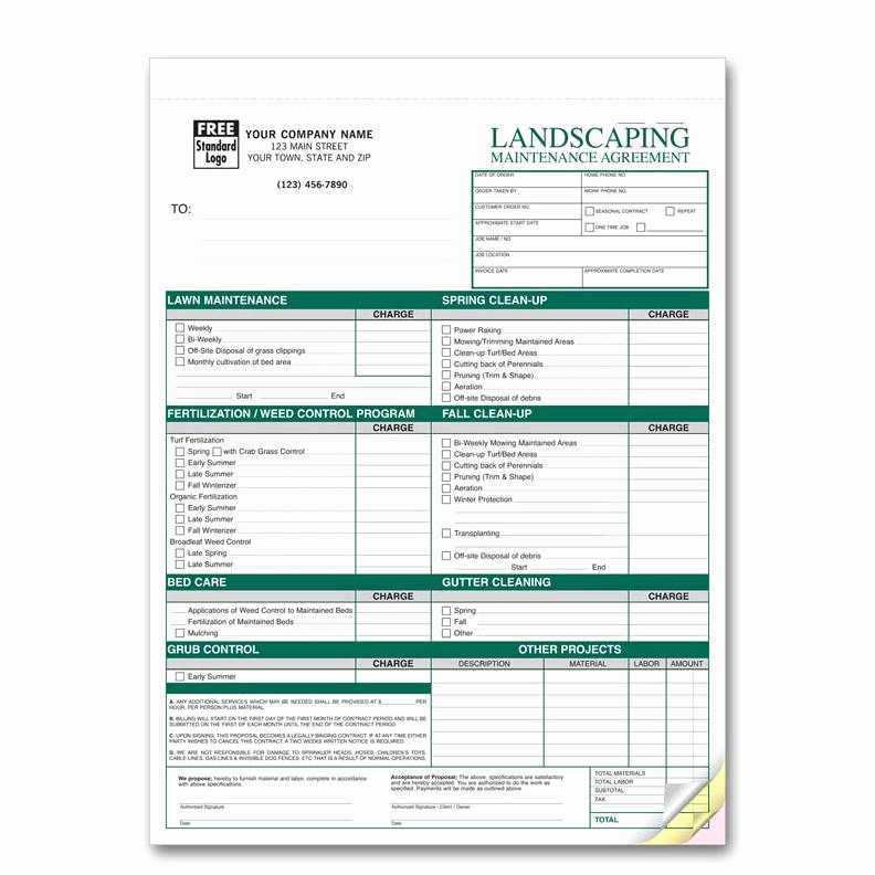 Lawn Service Invoice Template Lovely Landscaping Maintenance Agreements Custom Invoice