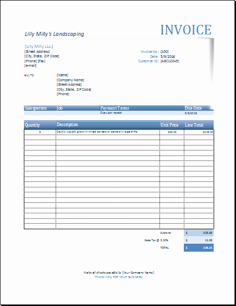 Lawn Service Invoice Template Luxury Pin by Alizbath Adam On Microsoft Excel Invoices