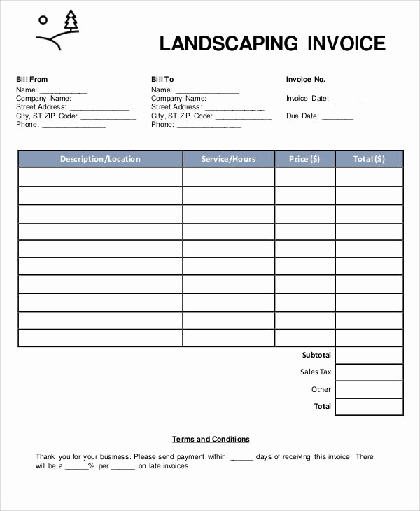 Lawn Service Invoice Template Luxury Sample Landscaping Invoice