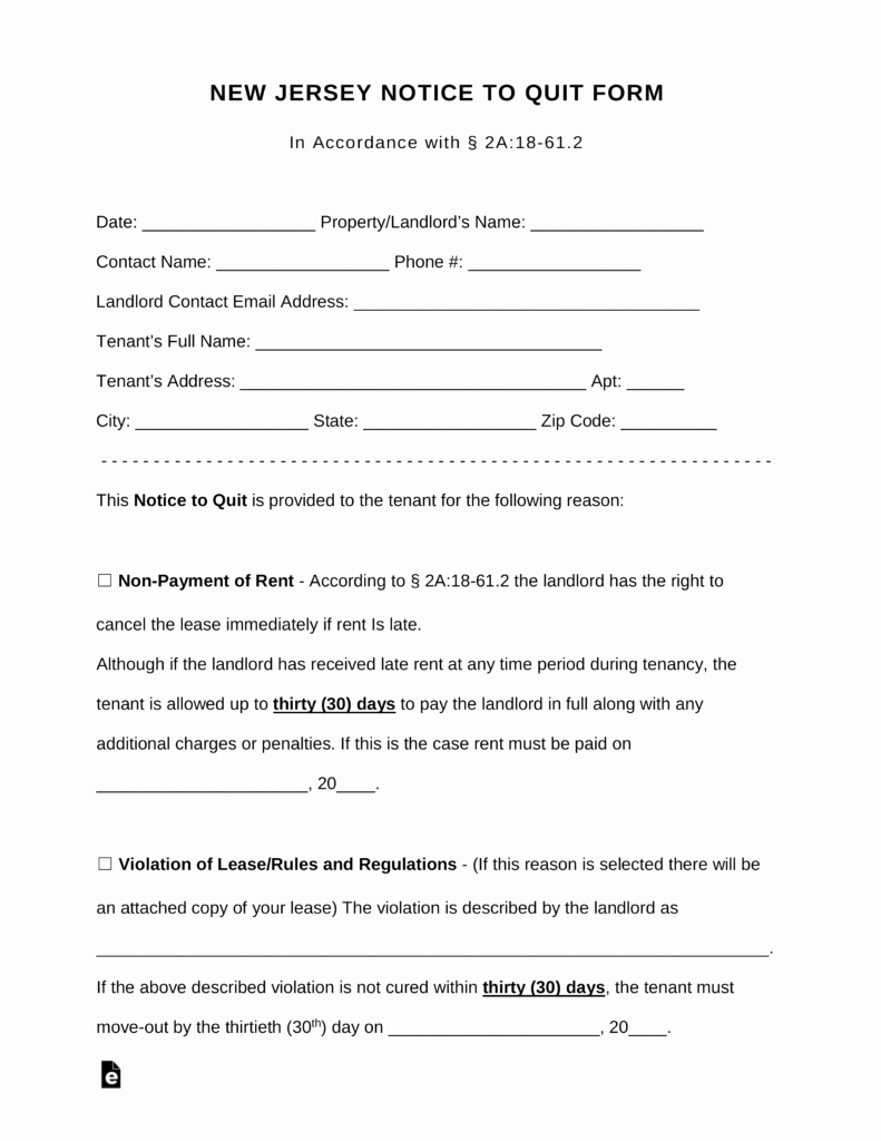 Lease Violation Notice Template Awesome Free New Jersey Notice to Quit form