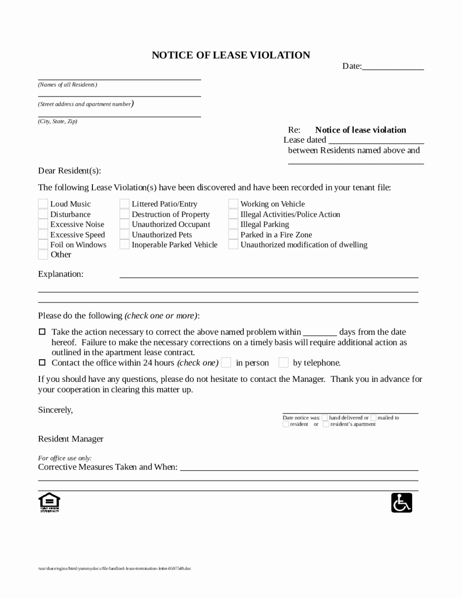Lease Violation Notice Template Beautiful 2020 Lease Termination form Fillable Printable Pdf