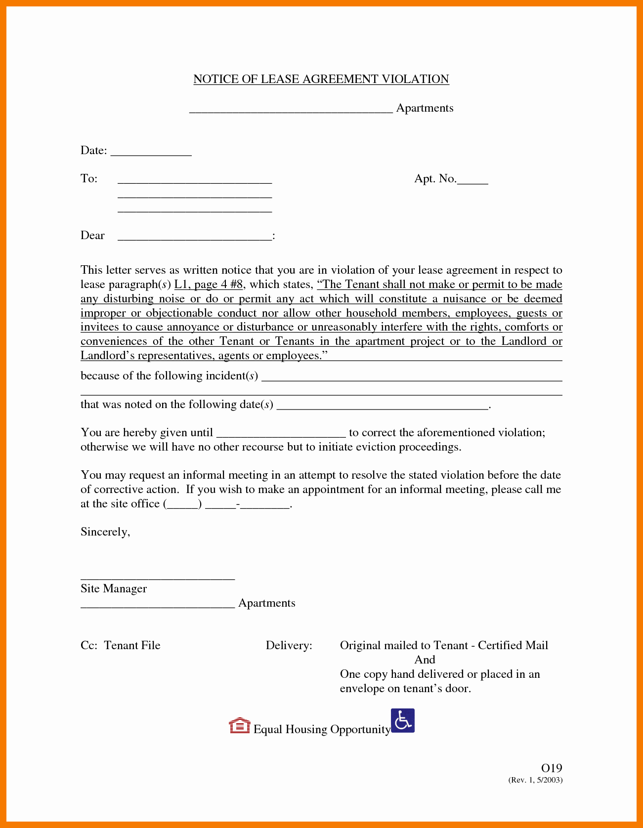 Lease Violation Notice Template Best Of 10 11 Notice Of Lease Violation Letter