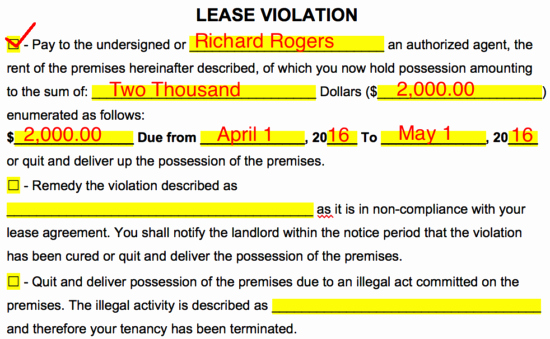 Lease Violation Notice Template Inspirational Free Eviction Notice Templates Notices to Quit Pdf