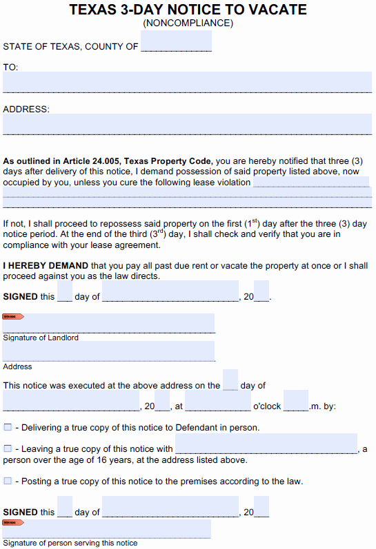 Lease Violation Notice Template Lovely Free Texas 3 Day Notice to Cure or Quit