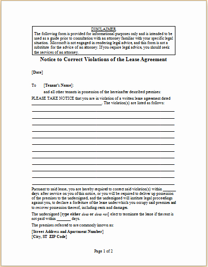 Lease Violation Notice Template Lovely Letter to Correct Violations Of Lease Agreement