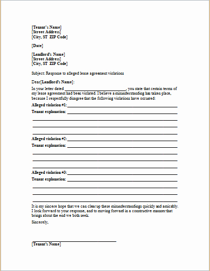 Lease Violation Notice Template Lovely Letter to Landlord Responding Alleged Lease Violations